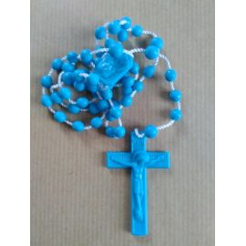 Chapelet en plastique bleu