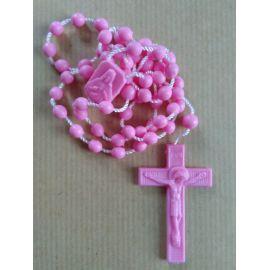 Chapelet en plastique rose