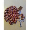 Chapelet bois d'olivier, perles guillochées