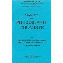 Manuel de philosophie thomiste Tome 3