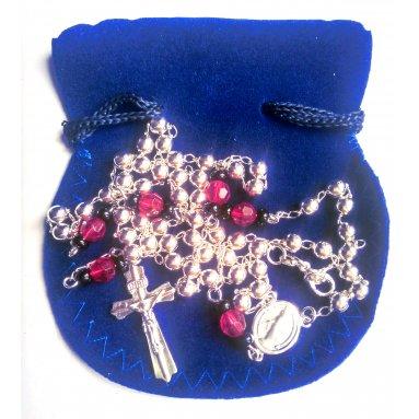 Chapelet argent perles de verre rouge et noir