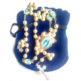 Chapelet perles et image de la Vierge de la rue du Bac