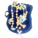 Chapelet perles et image de la Vierge de la rue du Bac - Pochette bleu