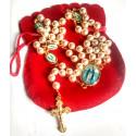 Chapelet perles et image de la Vierge de la rue du Bac - Pochette rouge