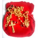 Chapelet plaqué or et perles de verre rouge et noir