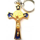 Porte-clé Croix de Saint Benoit bleu